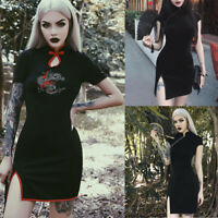 Women Gothic Punk Chinese Style Cheongsam Embroidery Bodycon Vintage Split Dress