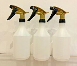 3 x Trigger Spray Bottles 750ml, Gold Tolco, Acid chemical resistant heads