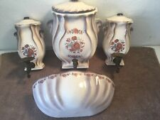 5 pcs Set Of Vintage Ceramic Wall  Fountain~Planter~Candle Holders Decorative