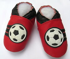minishoezoo soft sole leather toddler shoes soccer red 3-4 T active
