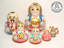 "Nesting Doll 10 pcs, Matryoshka Ukraine Family - Girl With Pie 5,5"" (14cm)"