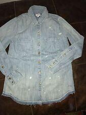 New true religion women denim blue shirt S small