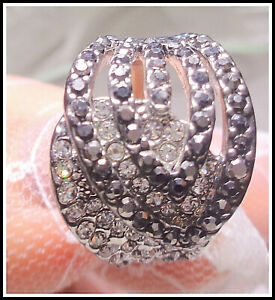 Artisan Handcrafted Elagant Gray and White Gem CZ Ladys Ring Size 7