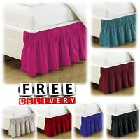 Wrap Around Bed Skirt Dust Ruffle Queen King Twin Full Size Soft Elastic