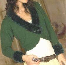 Fur Edge Shaped Fashion Cardigan Bolero Top DK Knitting Pattern
