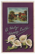 Vintage Easter Greetings Post Card, A Country House and Stream, White Lilies