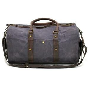 Highlander 55″ Navy Waxed Canvas & Leather Travel Duffel Bag
