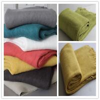 Knitted Plain Design Throw Rug Blanket Fringe Bed Sofa Home Decor Photo Prop