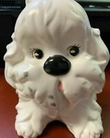 Vtg. white  ceramic dog planter in good used condition/adorable/cute (Japan?)