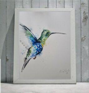New Elle Smith large original signed watercolour art painting Green Hummingbird