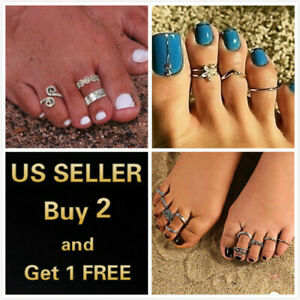 3or12 Pcs Silver Gold Elegant Women Toe Ring Rings Foot Beach Jewelry