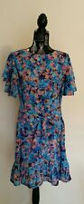 NEW Forest Floral with tier flutter sleeve and tie waist belt dress, size 12-14