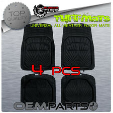 SUV 4 PCS RUGGED TUFF FLOOR MATS BLACK ALL WEATHER UNIVERSAL TRIM TO FIT DURABLE