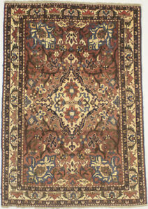Antique Muted Rusty Red Floral Tribal 5X7 Oriental Rug Handmade Farmhouse Carpet