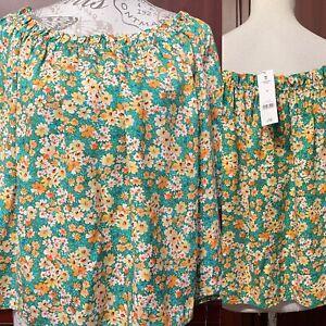 George Asda NWT UK 24 Pretty Floral Print Summer Bardot Top 100% Viscose