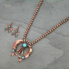Copper Bead Squash Blossom Necklace Set Faux Turquoise Long Western Big Pendant