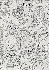 Black White Cool Cats Half Metre - 100% cotton quilting fabric - 50 x 110 cms