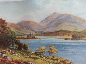ANTIQUE PRINT C1920'S KILCHURN CASTLE LOCH AWE ARGYLLSHIRE SCOTLAND PAINTING ART