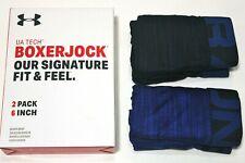 """Para Hombre Under Armour Tech Boxer Jock 2-Pack 6"""" desde entrepierna (Azul) Novedad Ropa Interior"""