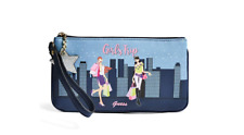 GUESS Blue Pink Logo Travel Graphic Wristlet Pouch Bag,Girls Trip Free Shipping