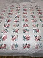 """40 X 49"""" vtg 50s TABLECLOTH farmhouse RED florals roses cotton charming"""