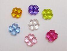 100 Mixed Colour Transparent Acrylic Four Leaf Clover Charm Beads 11mm