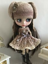 coat and belt hand-knitted from mohair yarn Neo Blythe Obits set of 3 items-hat