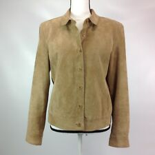 Isaac Mizrahi Jacket Women's Size Large Leather Suede Pockets Buttons Collar