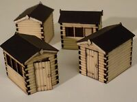 4 x garden sheds wooden (made with REAL WOOD!) 00 gauge- Free P&P- laser cut-NEW