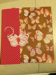 Butterflies And Pink White Spot Wrapping Paper 8 Sheets  8 Tags Free Post