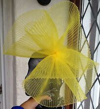 yellow crin fascinator headband headpiece wedding party race ascot bridal