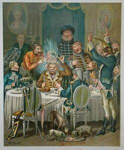 ANTIQUE ORIGINAL ALPHONSE BICHARD LITHOGRAPH BARON MUNCHAUSEN GENERALS DINNER
