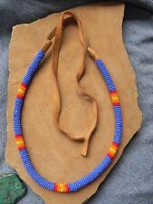 Blue, Red, Orange & Yellow Seed Bead & Soft Leather Cowboy Hat Band Navajo