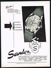 1950's Old Vintage 1953 Sandoz Automatic Waterproof Swiss Watch Art Print AD
