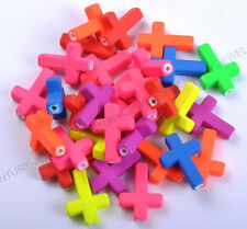 10PCS Fluorescent Acrylic  Cross Spacer Beads Jewelry Making Charms 27mm