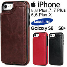 Slim Leather Flip Wallet Cover Case IPhone X 8 8 Plus 7 7 Plus 6, Samsung S8 S8+