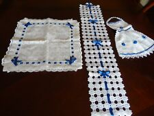Baby Gift Set White Lace w/ Blue Ribbon Pillow Cover Diaperholder &Towel New