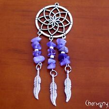 Dreamcatcher w Amethyst & Feathers ~ metal antique silver finish dream catcher
