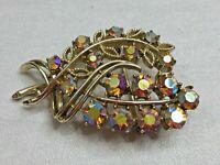 Vintage Signed C Brooch Pin Gold Tone Leaf Cluster Aurora Borealis Crystal Retro