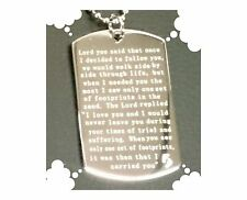 NEW Footprints in the Sand Engraved Quotation Pendant Tag Necklace and Chain