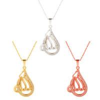 FJ- CN_ Arabia Muslim Islam Totem Rhinestone Pendant Woman Long Necklace Jewelry