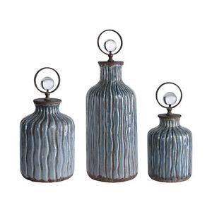 Elegant Blue Gray Ribbed Ceramic Decorative Bottle Set 3 | Vintage Style Bronze