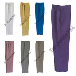 Ladies Women Smart Half Elastic Waist Pull On Trouser Bottom UK Made