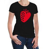 Damen Kurzarm Girlie T-Shirt Erdbeere Rosengewächs Frucht süß lecker rot