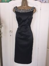 Black Wiggle Pencil Dress 8 Gems Classic New Party Occasion Cruise Holiday