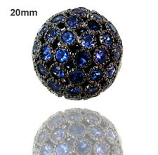 20MM Disco Bead Ball Spacer Finding Gemstone Lolite 925 Sterling Silver Jewelry