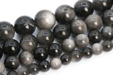 Natural Silver Obsidian Beads Grade AAA Round Gemstone Loose Beads 6/8/9-10/12MM