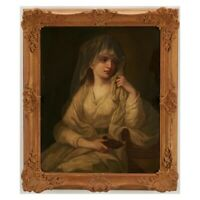 Antique 19th Century Oil On Canvas painting Afte Angelica Kauffman Vestal Virgin