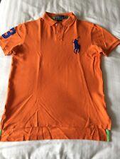 Ralph Lauren Polo Camisa Naranja Con Azul Big Pony &' 3' Tamaño Mediano para hombre