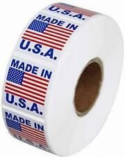 Pre Printed Labels Stickers 1 X 1 American Flag Made In The Usa 1000 Per Roll